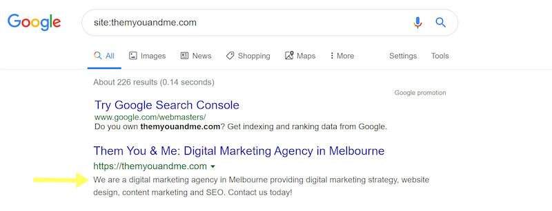 meta description is your website seo friendly digital marketing agency them you & me