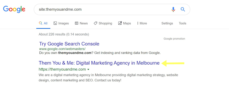 title tag is your website seo friendly digital marketing agency them you & me